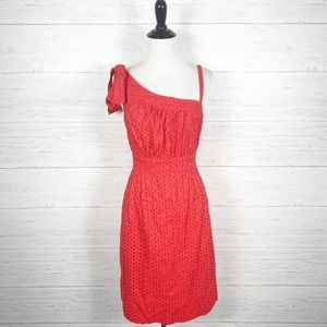 Maggy London • NWT Red Eyelet One Shoulder Dress 8